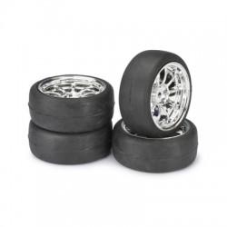 Absima 1/10 Onroad Wheel + Tyre Set 9 Spoke/Profile/Chrome Pk4 (2510010)