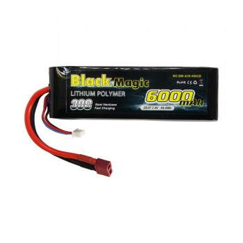 Black Magic 6000mAh 7.4V 2S2P 30C Semi Hard Deans Connector (O-BM35-6002T)